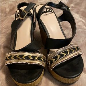 Black and gold wedge sandals